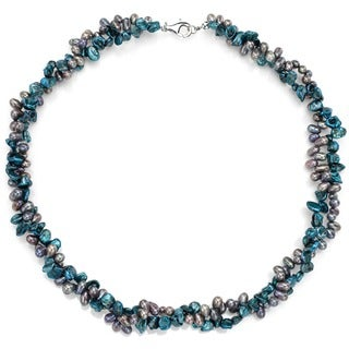 DaVonna Silver Multi-Grey FW and Keshi Pearls Twisted Necklace (7-8 mm)