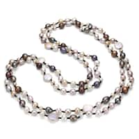 DaVonna Double-knotted 12-13mm Multicolored Freshwater Pearl Endless Necklace 60-inch - Multi