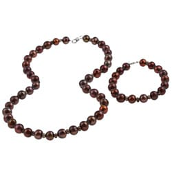 DaVonna Silver Brown FW Pearl and Smokey Quartz Necklace Bracelet Set (8-8.5 mm)