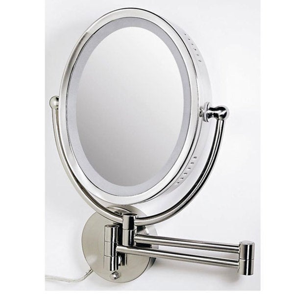 Wall Mounted Makeup Mirror With Lights zadro ovlw68 oval two-sided 8x/1x lighted wall mount makeup mirror