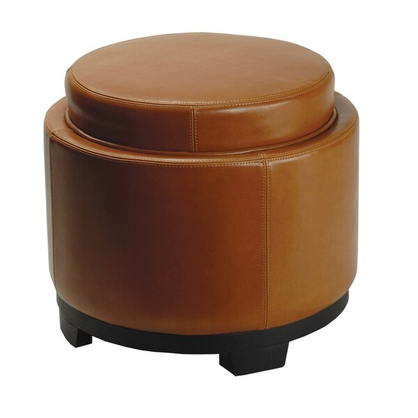shop safavieh round storage tray saddle ottoman free shipping today 4236583. Black Bedroom Furniture Sets. Home Design Ideas