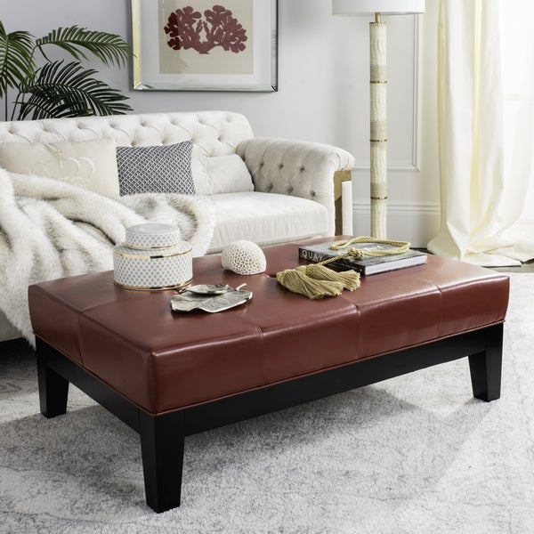 Safavieh Red Bicast Leather Cocktail Ottoman