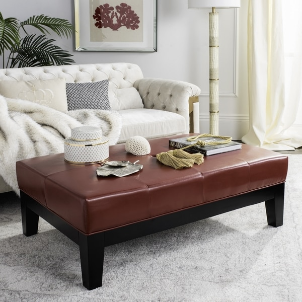 Red leather ottomans storage coffee table etc Red leather ottoman coffee table