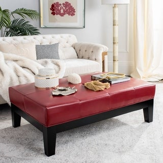 Link to Safavieh Red Bicast Leather Cocktail Ottoman Similar Items in Ottomans & Storage Ottomans