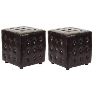 Safavieh Kristof Storage Brown Bicast Leather Ottomans (Set of 2)