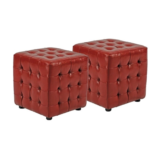 Safavieh Kristof Red Bicast Leather Ottomans (Set of 2)