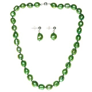 DaVonna Silver Lime Green Baroque FW Pearl Necklace and Earring Set (10-11 mm)