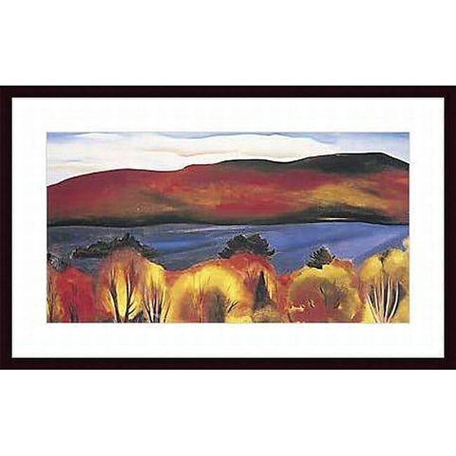Georgia O'Keefe 'Lake George, Autumn, 1927' Wood Framed Art Print