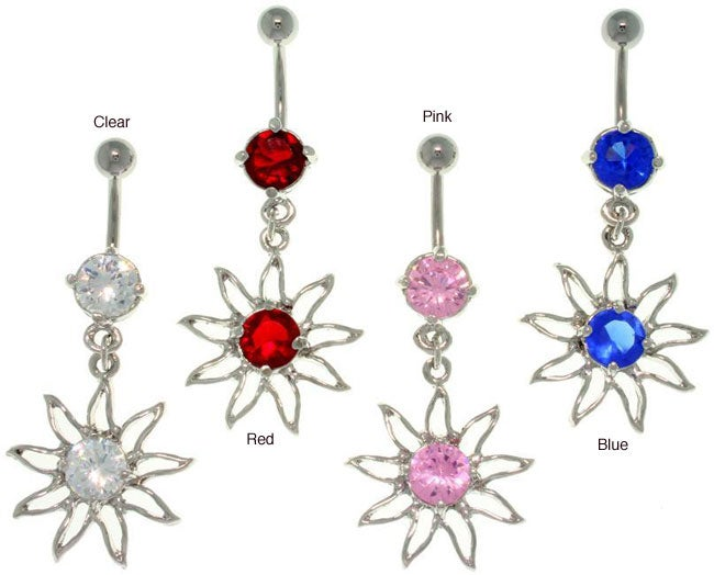Carolina Glamour Collection Stainless Steel 'Sun' Dangling Crystal Navel Ring