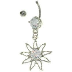 Carolina Glamour Collection Stainless Steel 'Sun' Dangling Crystal Navel Ring - Thumbnail 1