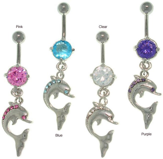 Carolina Glamour Collection Stainless Steel Crystal 14-gauge Dangling Dolphin Navel Ring
