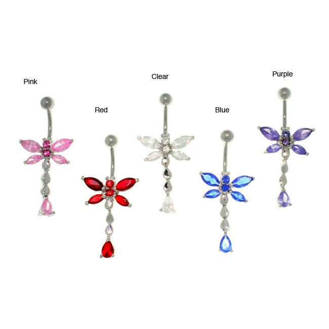 Carolina Glamour Collection Stainless Steel CZ Dragonfly 14-gauge Navel Ring