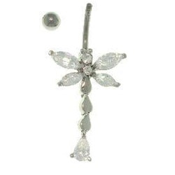 Carolina Glamour Collection Stainless Steel CZ Dragonfly 14-gauge Navel Ring - Thumbnail 1