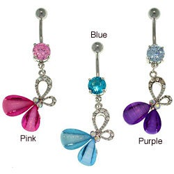 Carolina Glamour Collection Surgical Steel Glitter Stone Butterfly 14-gauge Navel Ring