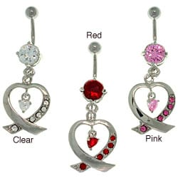 Carolina Glamour Collection Stainless Steel Ribbon Heart Dangling Barbell Navel Ring