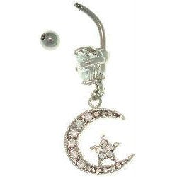 Carolina Glamour Collection Surgical Steel Crystal Moon and Star 14-gauge Belly Ring - Thumbnail 1