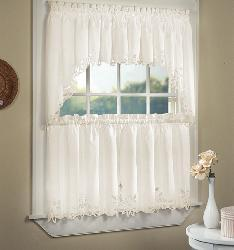 Battenburg Cotton Lace 5 Piece Window Tier And Swag Set