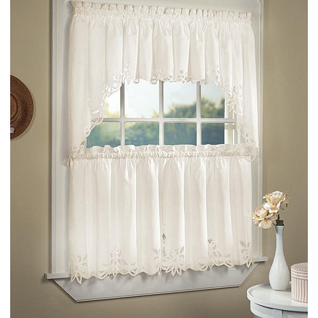 Battenburg Cotton Lace 5 Piece Window Tier And Swag Set On Sale Overstock 4237018