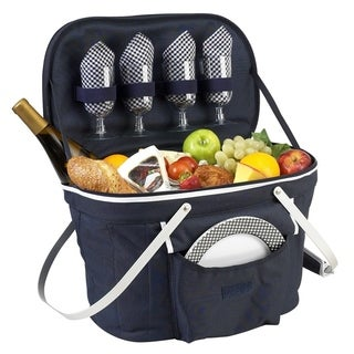 Picnic at Ascot Collapsible Picnic Basket Cooler for 4 -Polycanvas/Aluminum