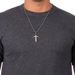 Unending Love Stainless Steel Men's Diamond Layered Cross Necklace (I-J, I3)