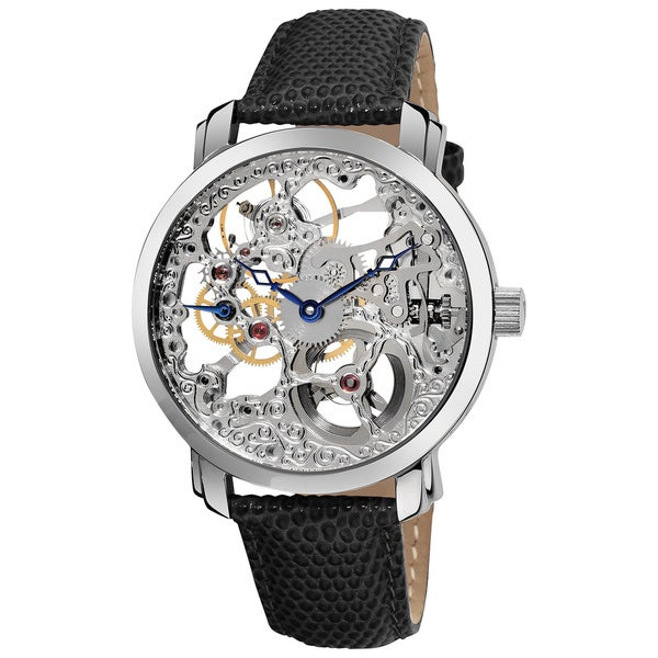 Akribos XXIV Men's 'Davinci' Water-resistant Skeleton Mechanical Leather Silver-Tone Strap Watch