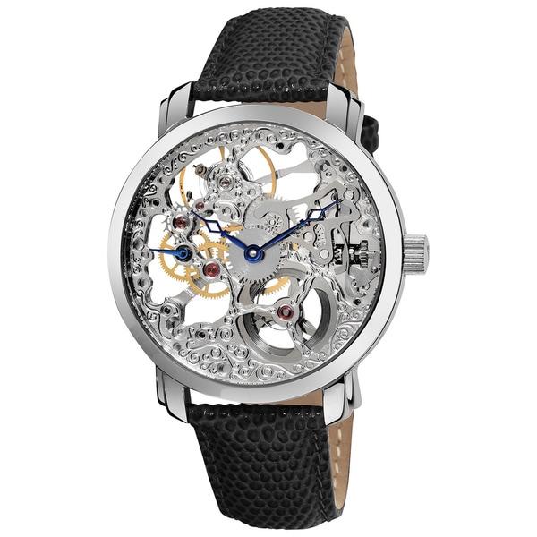 Akribos XXIV Men's 'Davinci' Water-resistant Skeleton Mechanical Leather Silver-Tone Strap Watch - Brown