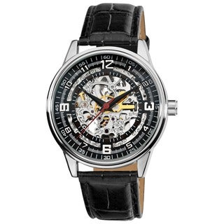 Akribos XXIV Men's 'Saturnos' Skeleton Automatic Silver-Tone Watch with FREE GIFT