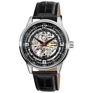 Akribos XXIV Men's 'Saturnos' Skeleton Automatic Silver-Tone Watch with FREE GIFT