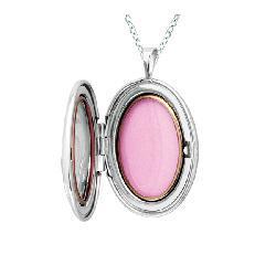 Sterling Silver Oval-shaped Heart Locket - Thumbnail 1