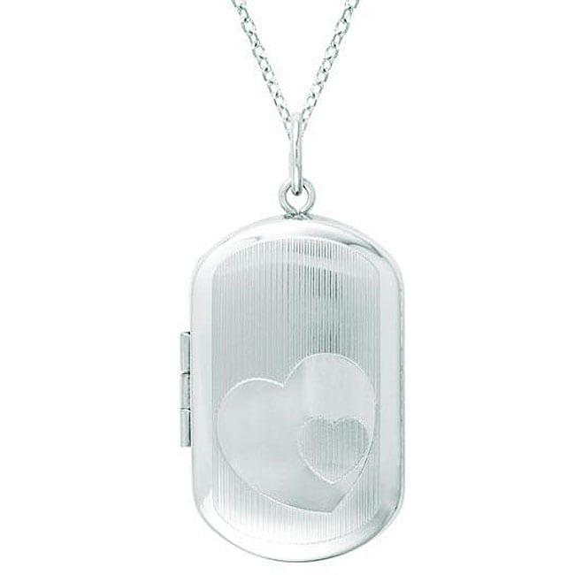 AME Sterling Silver Oval-shaped Heart Locket, Women's, Si...
