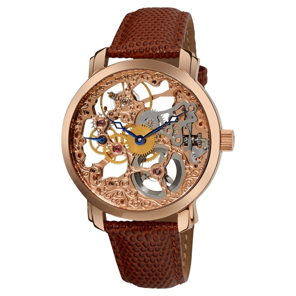 Akribos XXIV Men's 'Davinci' Skeleton Mechanical Leather Rose-Tone Strap Watch