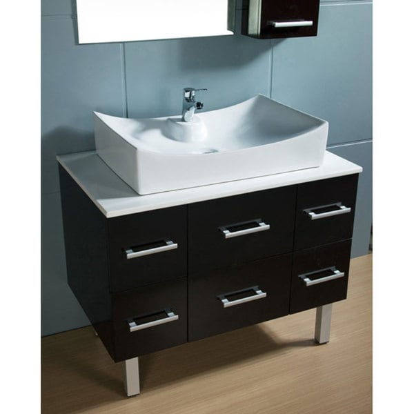 Design Element Paris Contemporary Bathroom Vanity with Vessel Sink. Design Element Paris Contemporary Bathroom Vanity with Vessel Sink
