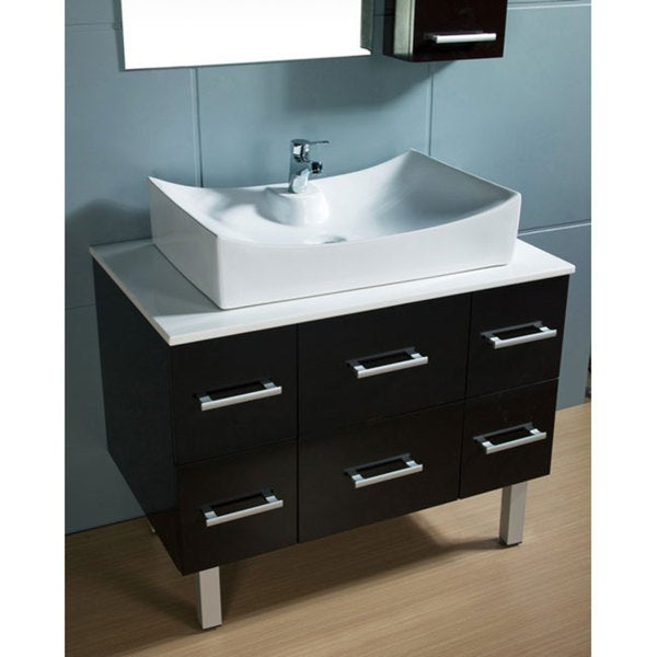 Brilliant 26 Inch Modern Vessel Sink Bathroom Vanity In Espresso UVSR071126