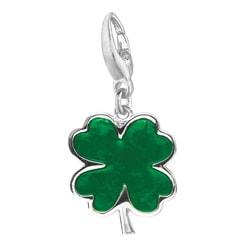 Sterling Silver Green Enamel Four-leaf Clover Charm