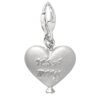 Sterling Silver 'It's a Boy' Heart Balloon Charm