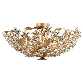 Crystorama Austrian Crystal 6-light Gold Leaf Ceiling Lamp