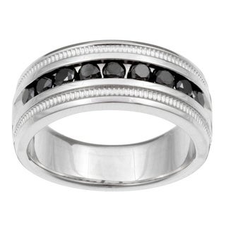Link to Sterling Silver Men's 1ct TDW Black Diamond Band Similar Items in Wedding Rings