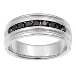 Unending Love Sterling Silver Mens 1 2ct TDW Black Diamond Band