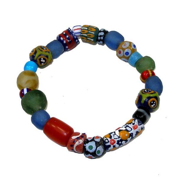 Hand-painted Glass Bead Bracelet (Ghana)