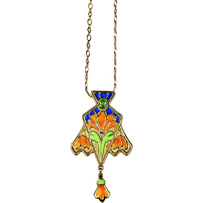 Pewter Cloisonne Lily Vintage Necklace