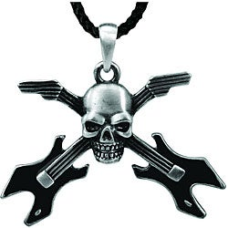 Pewter Skull Guitar Necklace