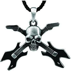 Pewter Skull Guitar Necklace