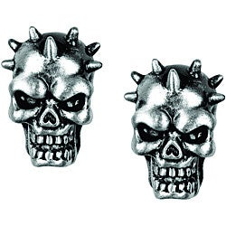 Pewter Spike Skull Stud Earrings