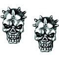 Pewter Spike Skull Stud Earrings