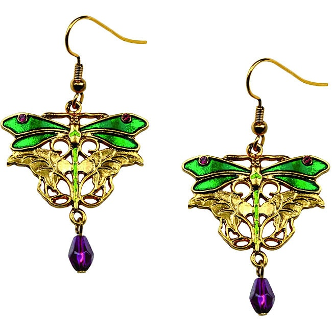 Goldtone Pewter Purple Crystal Dragonfly Earrings - Thumbnail 0