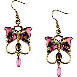 Pewter Vintage Butterfly Earrings with Multicolor Enamel Accents