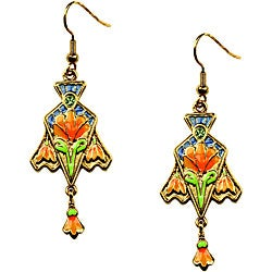 Multicolored Pewter/Enamel Art Nouveau 'Lily' Dangling Earrings