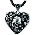 Lead-free Pewter Skull Heart Pendant Necklace with Rubber Cord