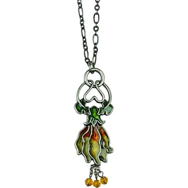 Pewter Art Nouveau Vintage Blossom Necklace