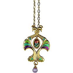 Goldtone Pewter CZ Double Peacock Art Deco Vintage Necklace
